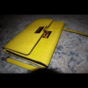 Kate Spade Neon Yellow Crocodile Leather Bag